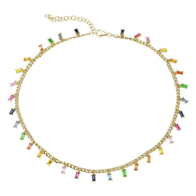 "4 Carat Rainbow Sapphire Necklace 14"""