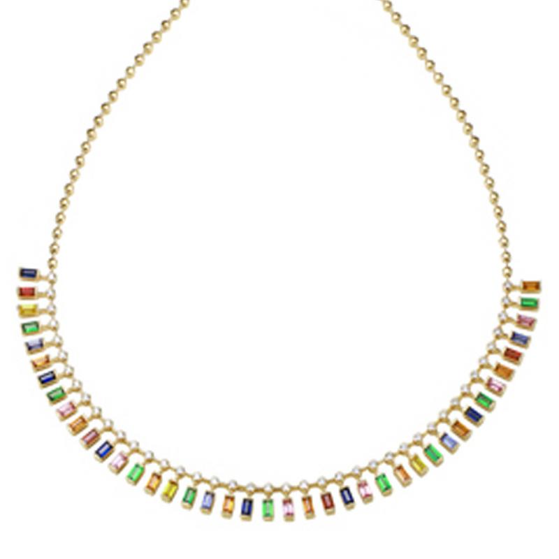 "6 Carat Rainbow Sapphire Necklace 14"""
