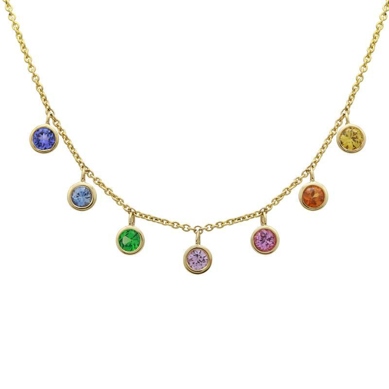 Multicolor Sapphire Bezel Necklace