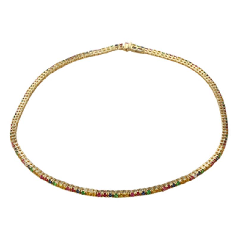 "Rainbow Sapphire Choker Necklace 14.25"""