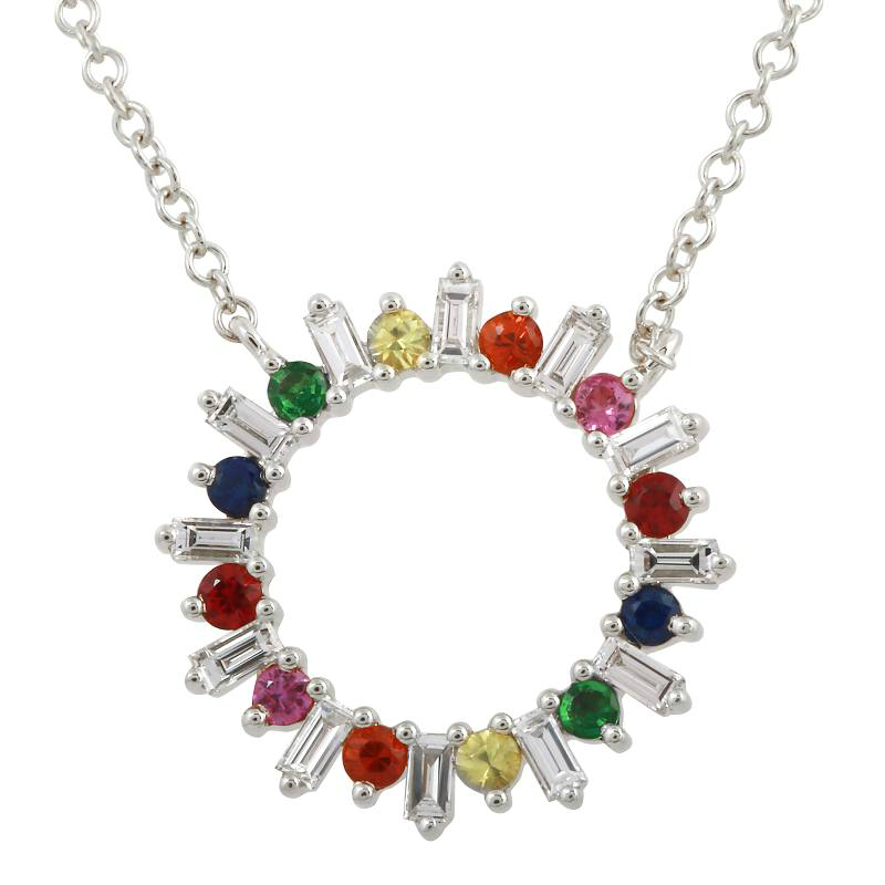 Multicolor Sapphire & Diamond Baguette Circle Pendant