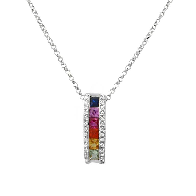 Rainbow Sapphire & Diamond Bar Pendant