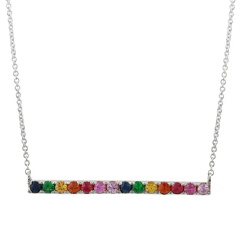 Rainbow Sapphire Horizontal Bar Pendant