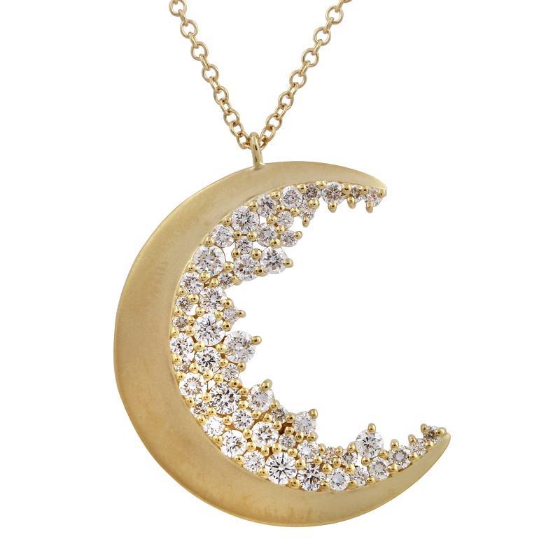 Crescent Moon Diamond Cluster Pendant