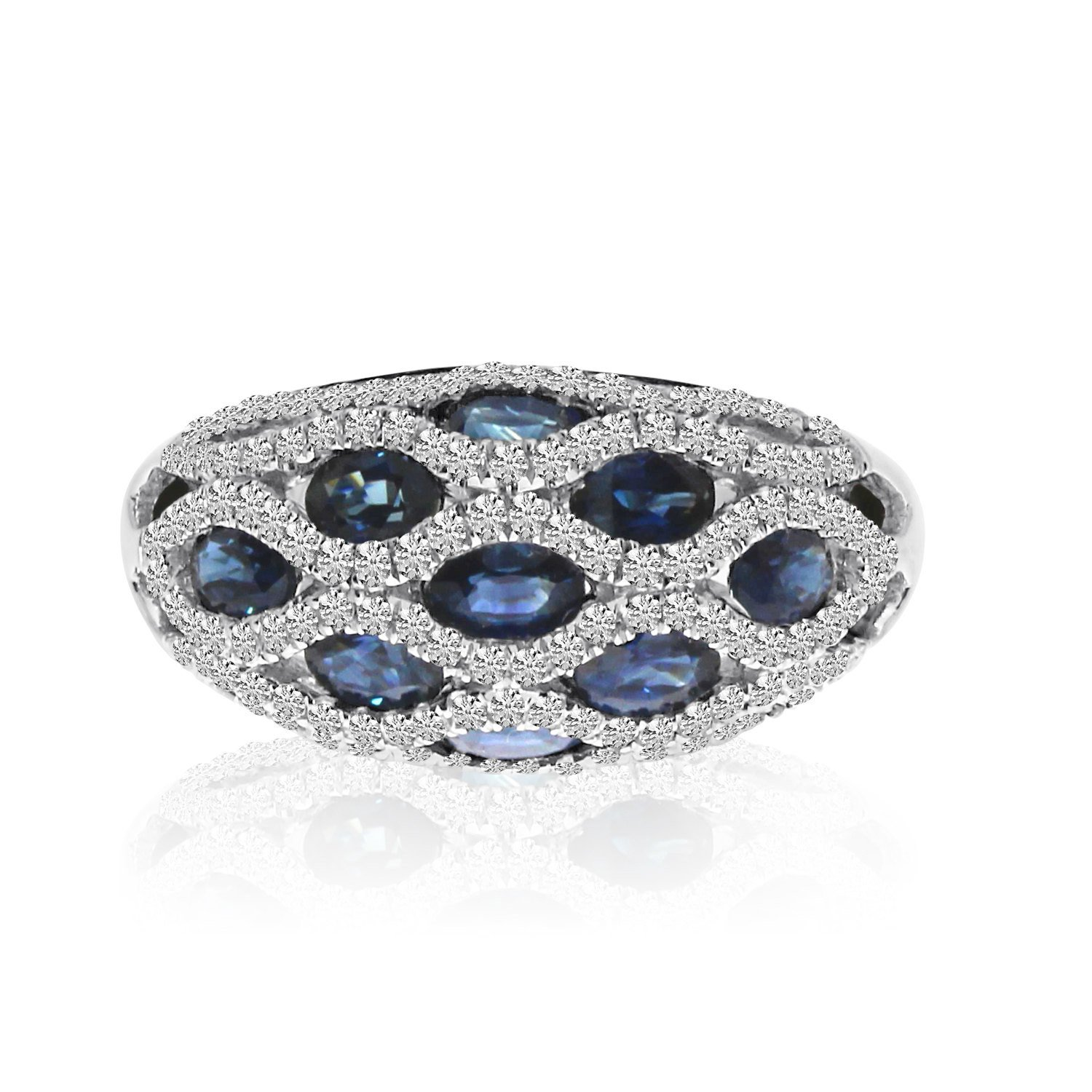 1.80 Carat Sapphire & Diamond Domed Lattice Ring