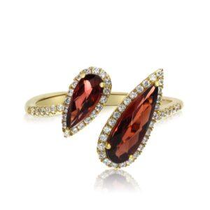 Pear Garnet & Diamond Halo Fashion Bypass Ring