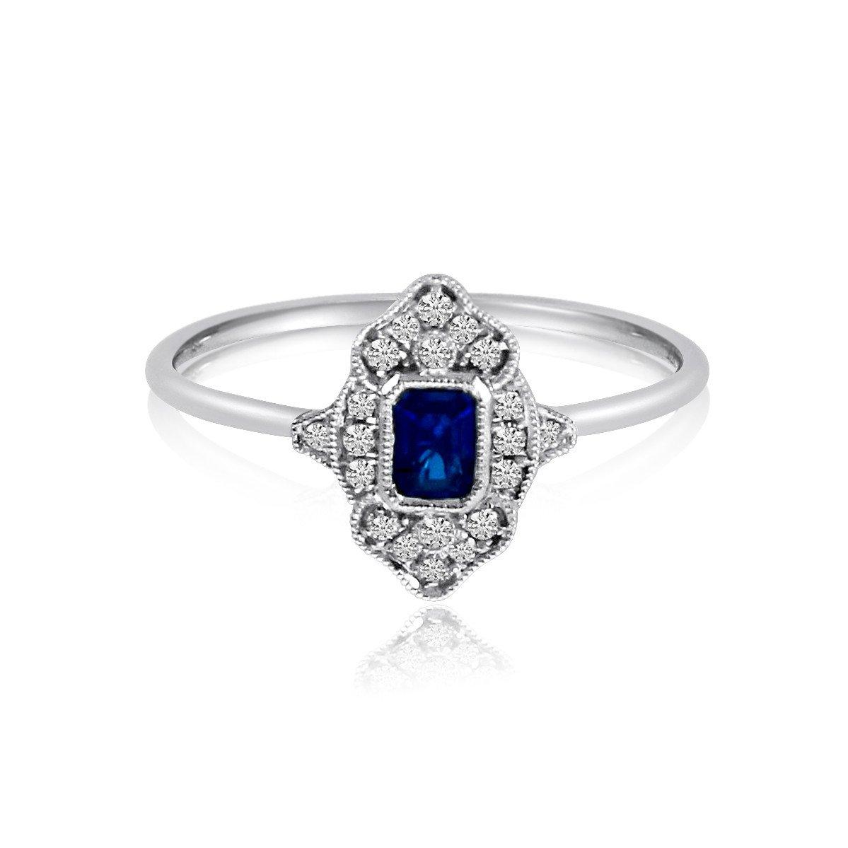 5x3mm Emerald Sapphire & Diamond Vintage Ring