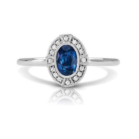 1.00 Carat Oval Sapphire & Diamond Ring