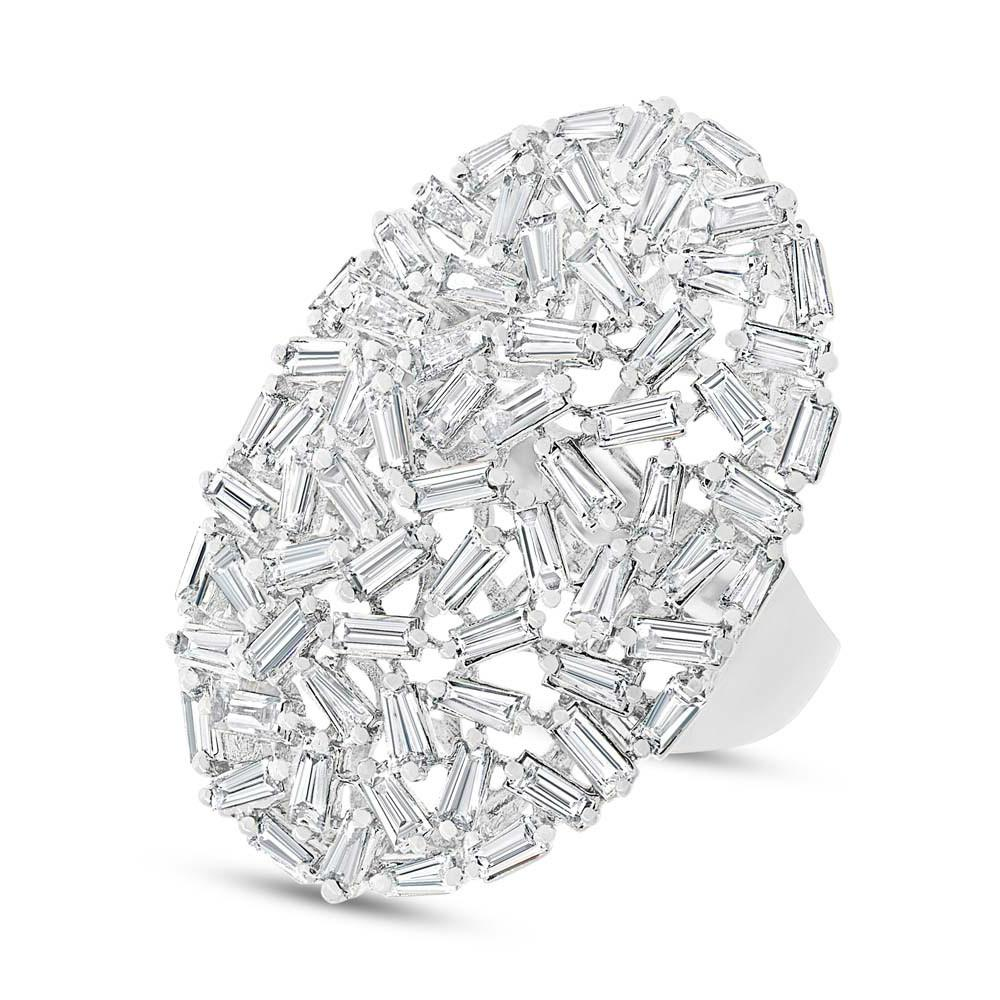 Diamond Baguette Cluster Ring 14k White Gold