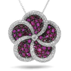 Ruby & Diamond Flower Pendant