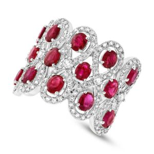 Ruby & Diamond 14k White Gold Ring