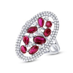 Ruby Cluster & Diamond Double Halo Ring