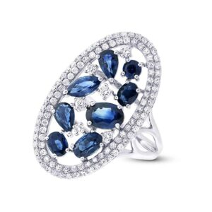 Sapphire Cluster & Diamond Double Halo Ring