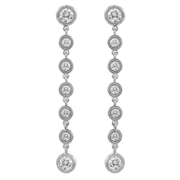 2 Carat Forever Brilliant Moissanite Bezel Dangle Earrings