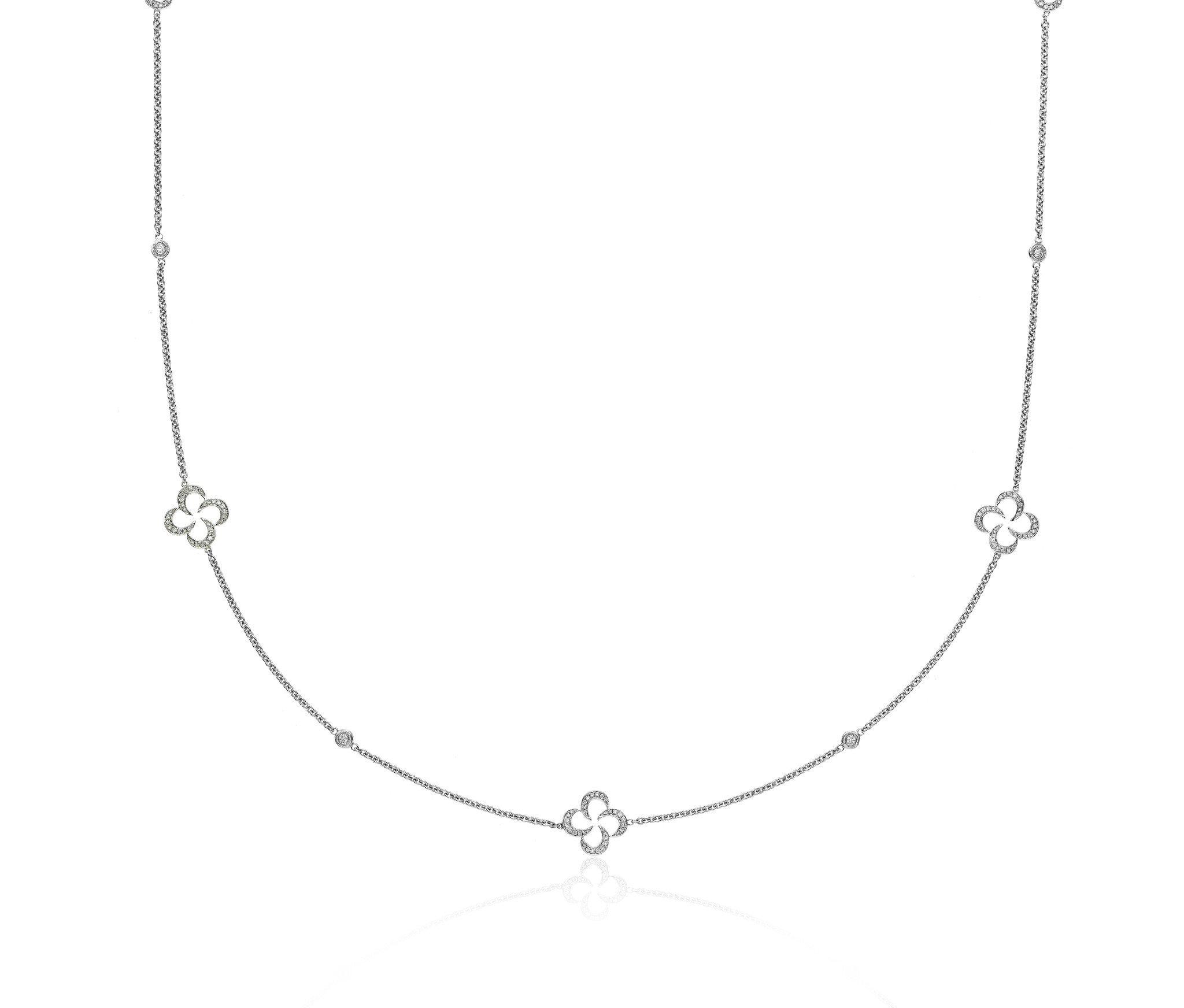 Swirly Clover Diamond Necklace