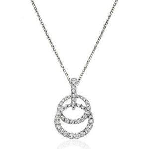 Interlocking Graduated Diamond Circle Pendant