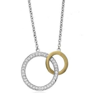 Interlocking Diamond & 14k Yellow Gold Circle Necklace