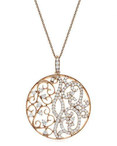 Swirl Diamond Medallion Pendant