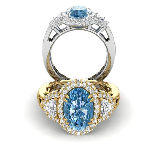 3 Carat Oval Aquamarine & Diamond Half Moon Ring