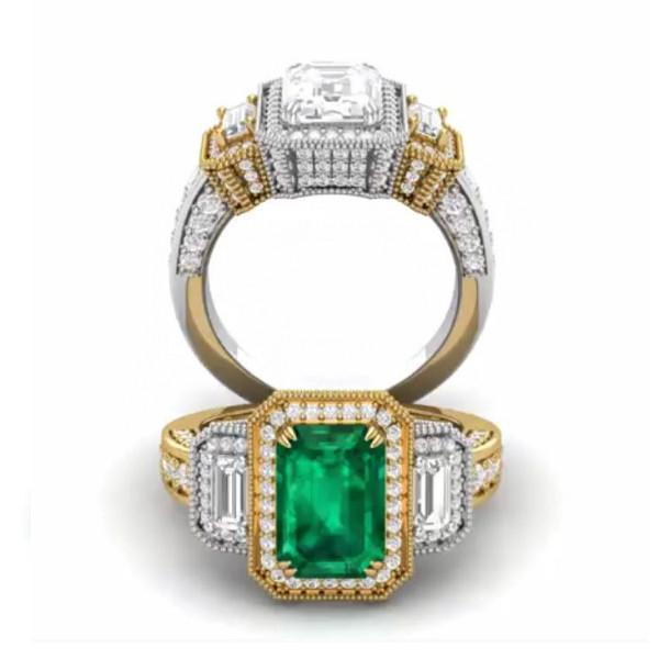 3.50 Carat Green Emerald & Diamond Three Stone Pave Ring