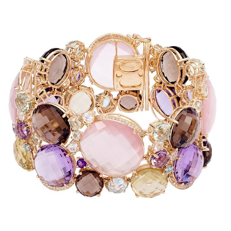 175.00 Carat Multi-Gemstone & Diamond Bracelet 14k Yellow Gold