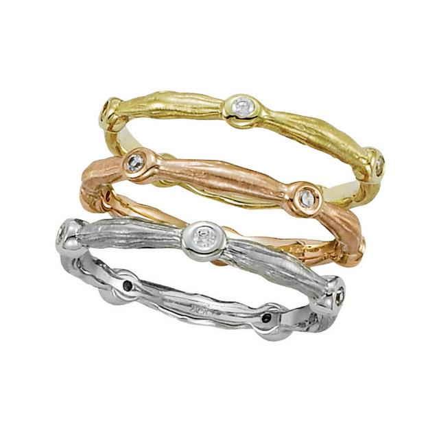 Twig Diamond Triple Stackable Rings