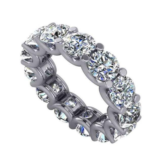 9.75 Carat Round Diamond U-Prong Eternity Band