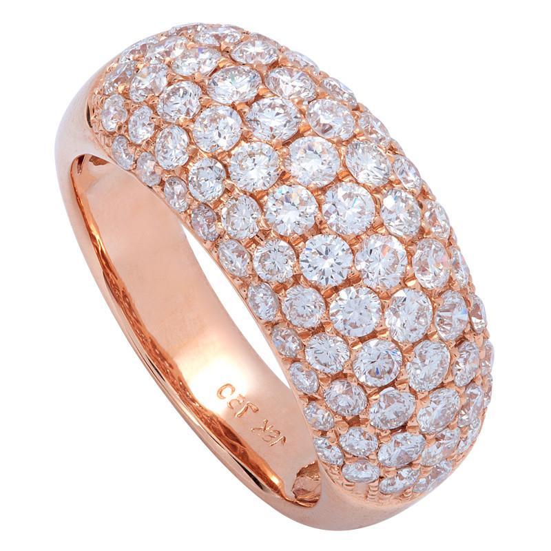 2.36 Carat Diamond Pave 18k Rose Gold Ring