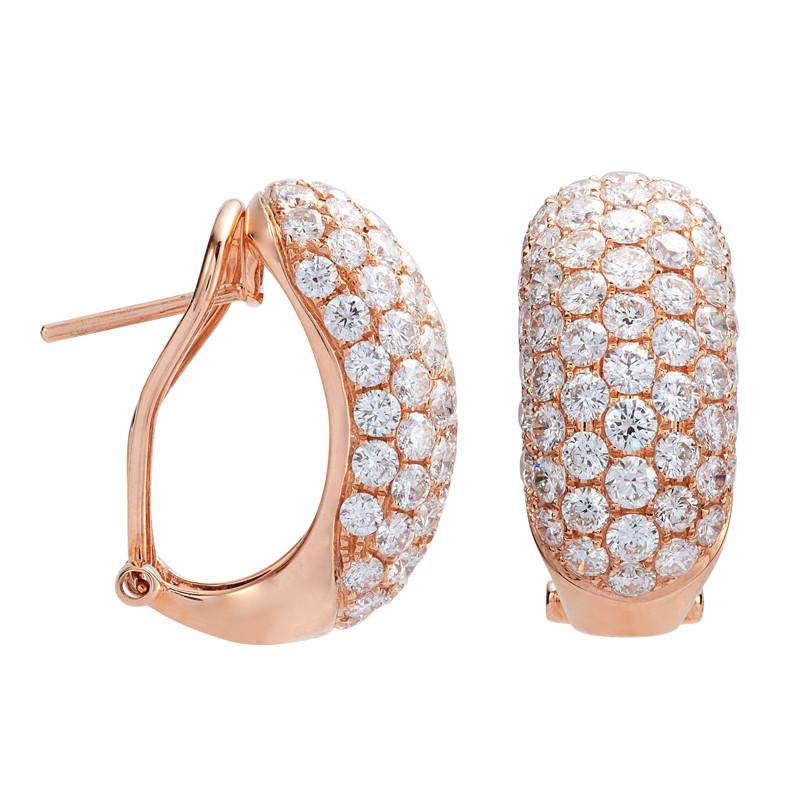 4.24 Carat Diamond Pave Huggie Earrings 18k Rose Gold