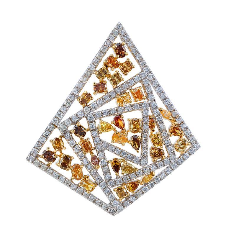 Yellow Diamond & White Diamond Geometric Pendant