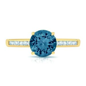 London Blue Topaz & Diamond Channel Set Ring 14k Yellow Gold