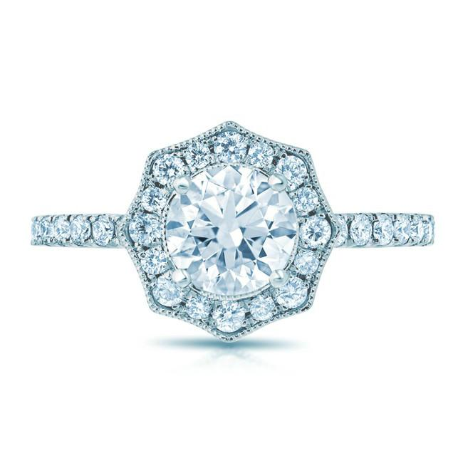 0.75 Carat Round Diamond & Vintage Scalloped Halo Ring