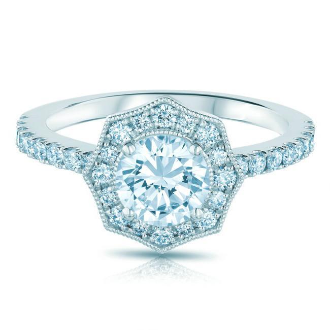 0.75 Carat Round Diamond & Vintage Scalloped Halo Ring
