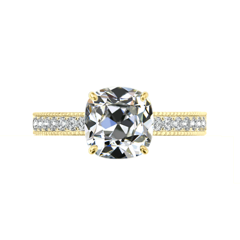 2.30 Carat Antique Cushion Moissanite & 2mm Diamond Bright Cut Pave Yellow Gold Ring