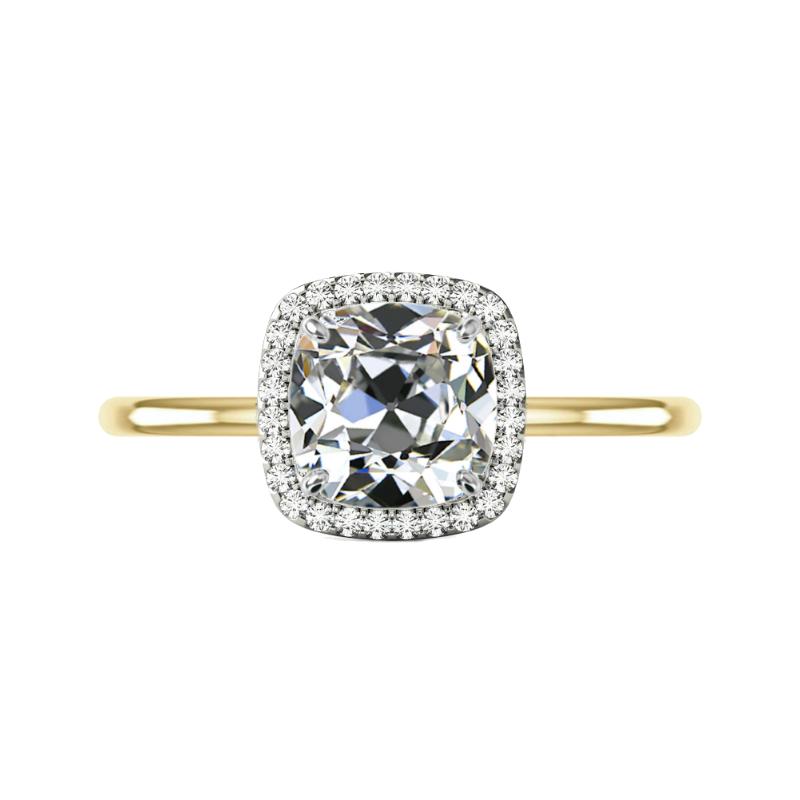 3.50 Carat Square Antique Cushion Moissanite & Diamond Halo Solitaire Ring