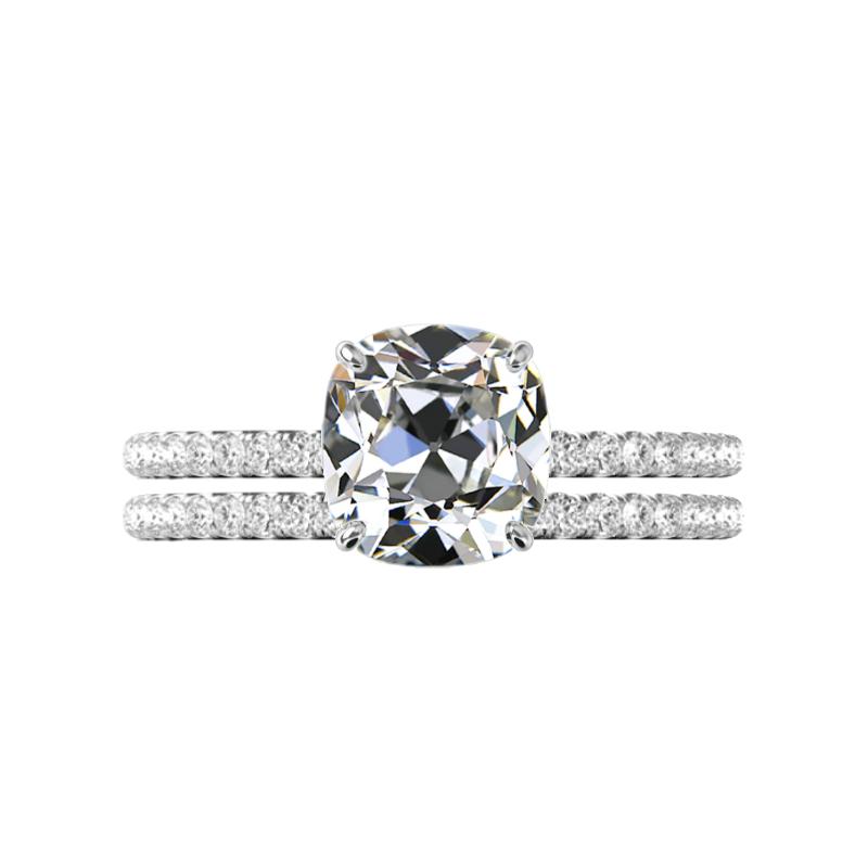 3.00 Carat Antique Cushion Moissanite & Diamond Hidden Halo Wedding Set