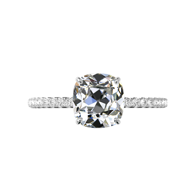3.00 Carat Antique Cushion Moissanite & Diamond Hidden Halo Wedding Set