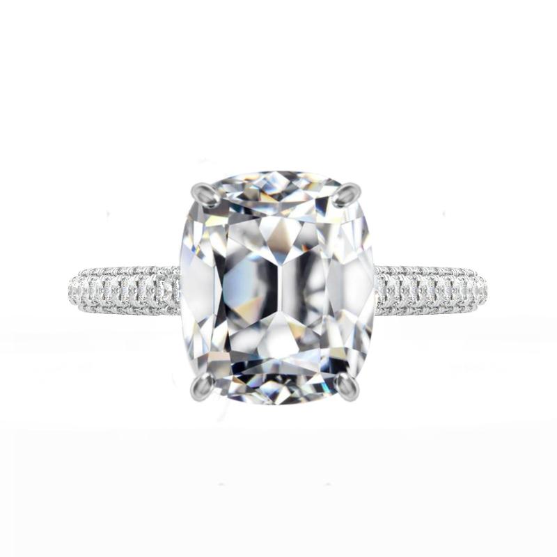 5 ct Antique Cushion Moissanite & Diamond Three Row Eternity Ring