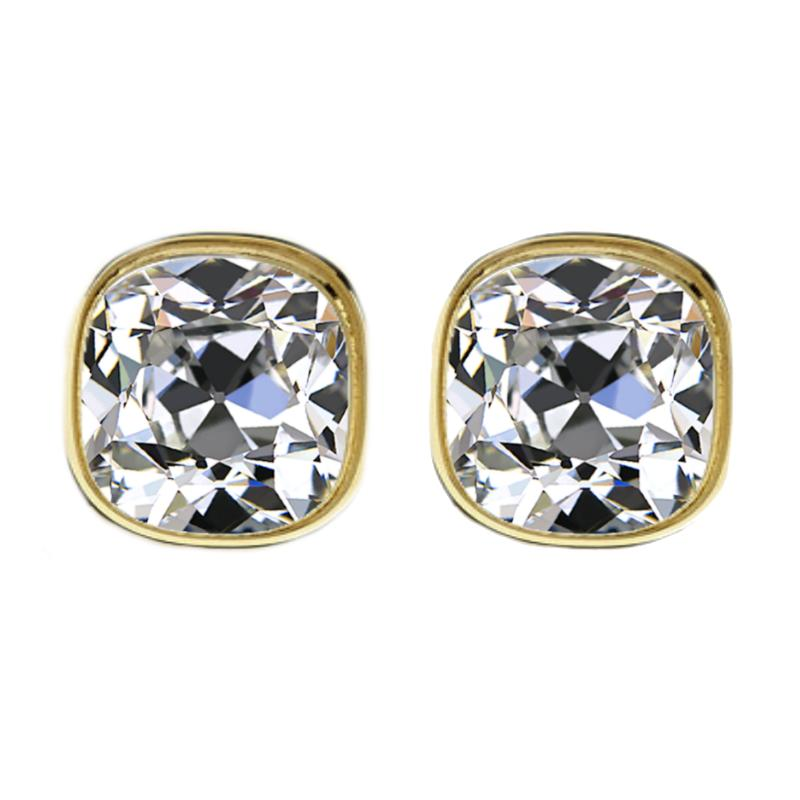 4.00 carats tw. (7.5mm) Antique Cushion Harro Gem Moissanite Bezel Stud Earrings 14k Yellow Gold