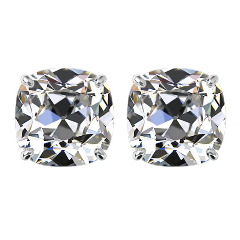 5.00 carats tw. (8mm) Antique Cushion Moissanite Stud Earrings 14k White Gold