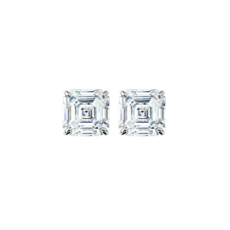 2 ctw Asscher Diamond Stud Earrings