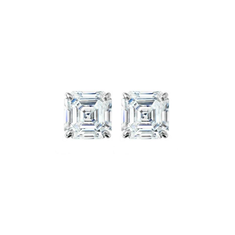 2 ctw Asscher Diamond Stud Earrings