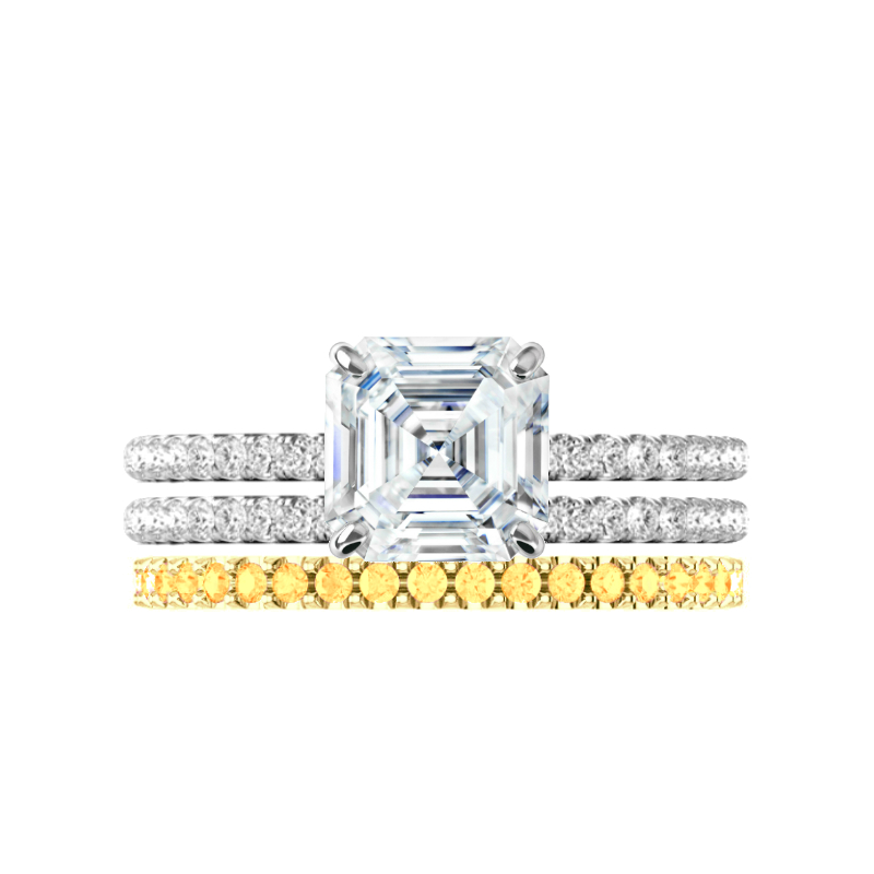 2.25 ct Asscher Supernova Moissanite & Diamond Halo Ring with White & Yellow Diamond Stackable Bands