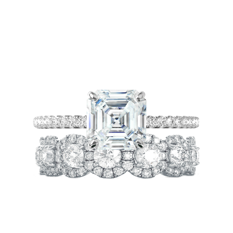2.70 Carat Asscher Supernova Moissanite & Diamond Ring with Diamond Halo Eternity Band