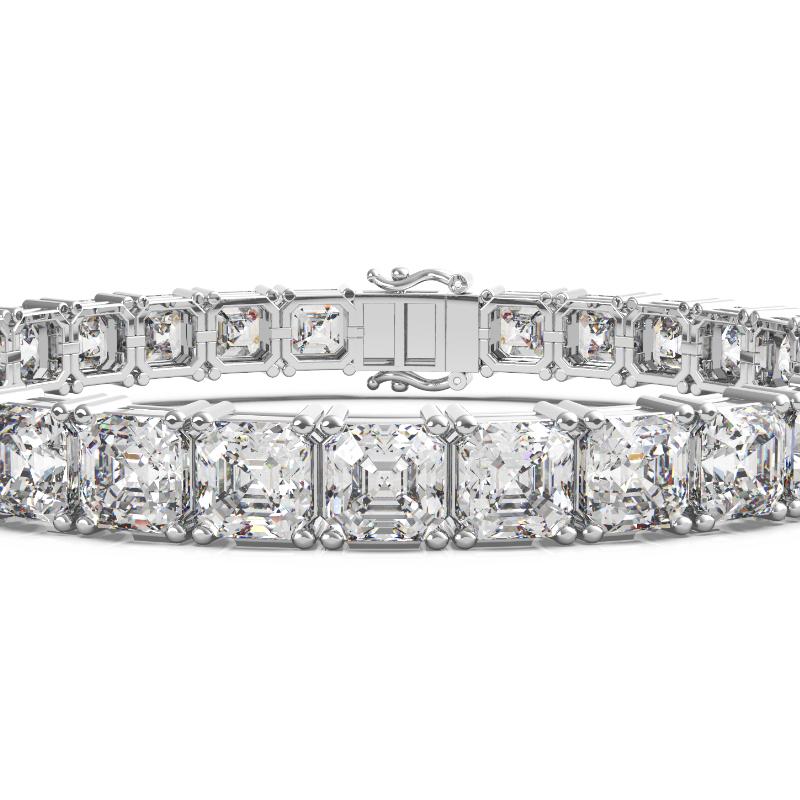 30 Carat Asscher Diamond Tennis Bracelet