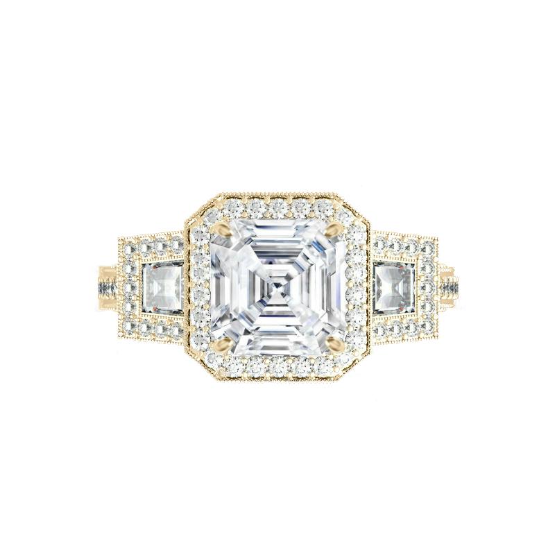2 Carat Asscher Moissanite & Trapezoid Diamond Halo Vintage Ring
