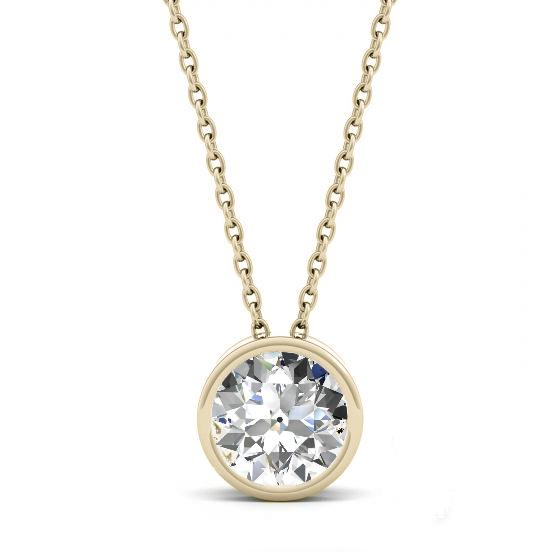 1.00 Carat Old European Cut Moissanite Bezel Floating Pendant Necklace