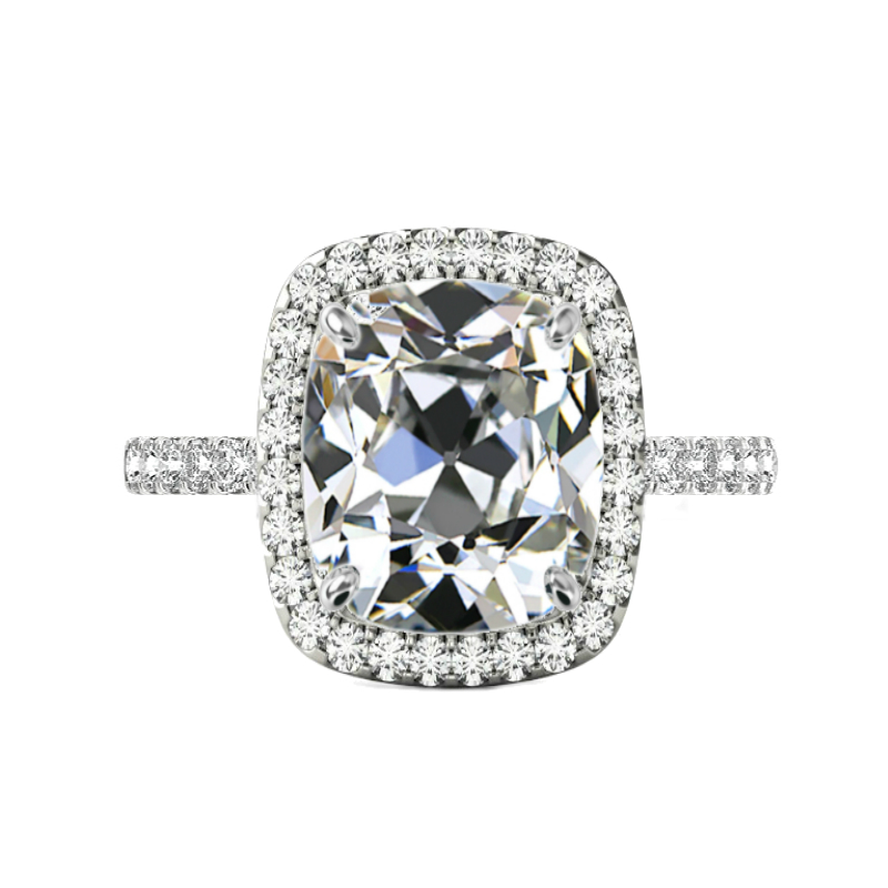 7 ct Antique Cushion Moissanite & 2mm Diamond Pave Ring