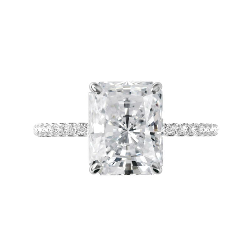 5 Carat Radiant Diamond & Hidden Halo Pave Ring
