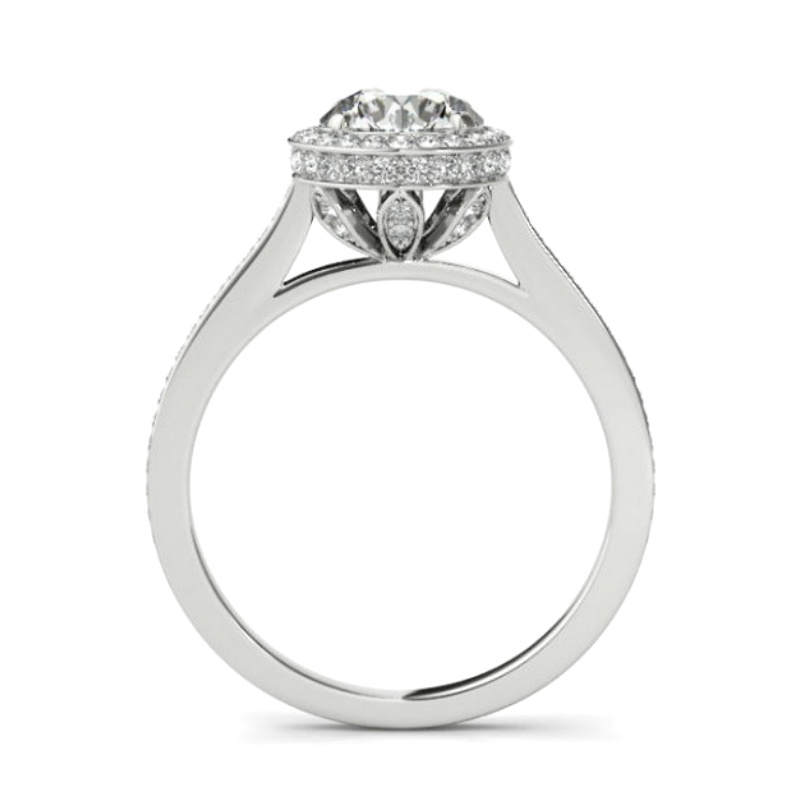 4.00 Carat Forever One Moissanite & Diamond Double Edge Halo Bright Cut Pave Ring